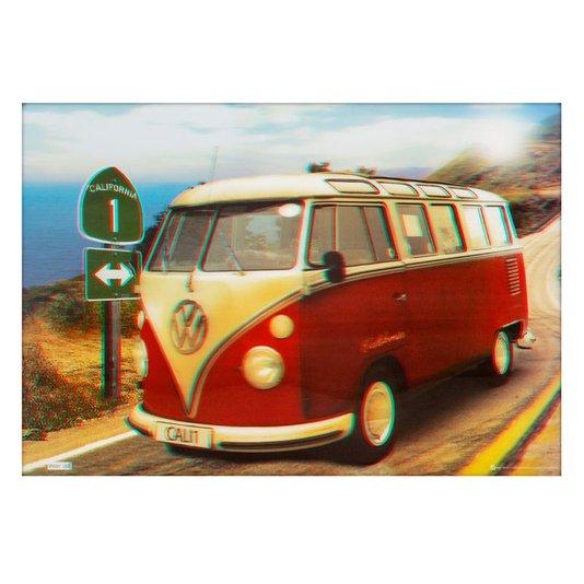 Poster 3d Kombi Vermelha e Branca 70x50cm Com/sem Moldura