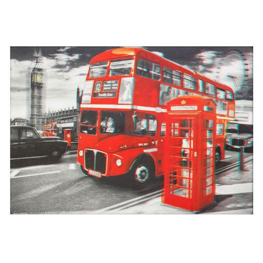 Poster 3D Londres Ônibus Vermelho Red Bus 70x50cm com/sem Moldura
