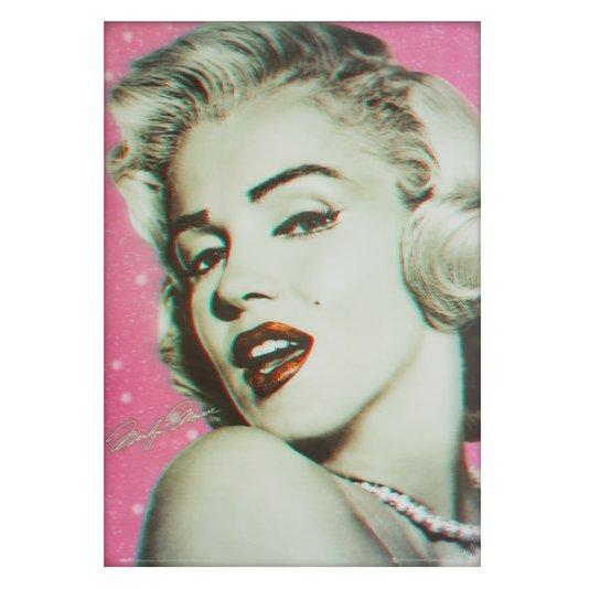 Poster 3D Marilyn Monroe Piscando 50x70cm com/sem Moldura