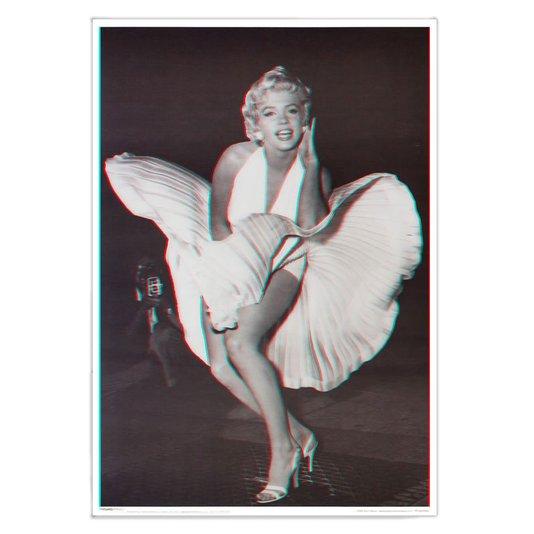 Poster 3d Marilyn Monroe Vestido Esvoaçante 50x70cm Com/sem Moldura