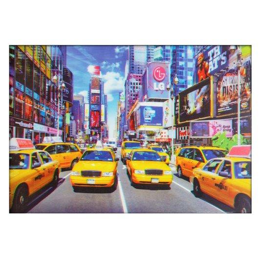 Poster 3D Nova York Trânsito de Táxis Amarelos 70x50cm com/sem Moldura