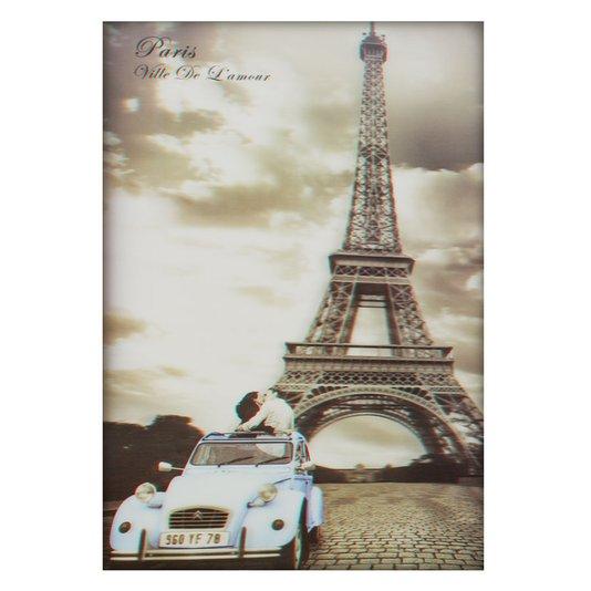 Poster 3D Paris a Cidade do Amor Torre Eiffel 50x70cm com/sem Moldura