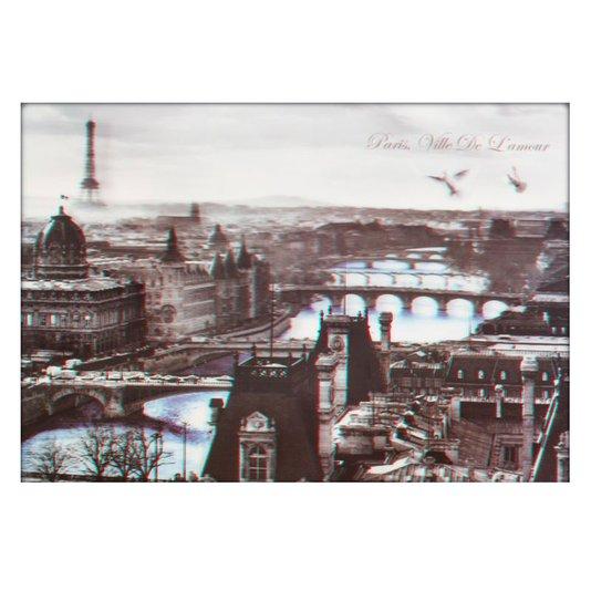 Poster 3D Paris Ville de Lamour Rio Azul 70x50cm com/sem Moldura