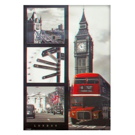 Poster 3D Pontos Turísticos de Londres 50x70cm com/sem Moldura
