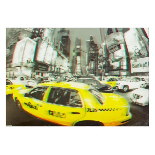 Poster 3D Táxi Amarelo de Nova York 70x50cm com/sem Moldura
