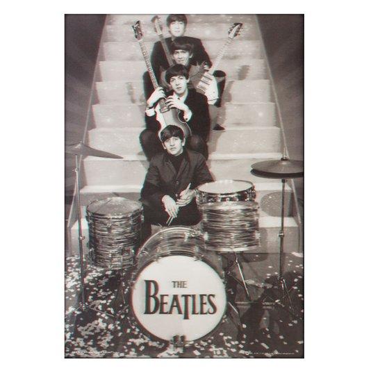 Poster 3D The Beatles em Preto em Branco 50x70cm com/sem Moldura