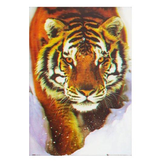 Poster 3d Tigre Andando Sobre a Neve 50x70cm Com/sem Moldura