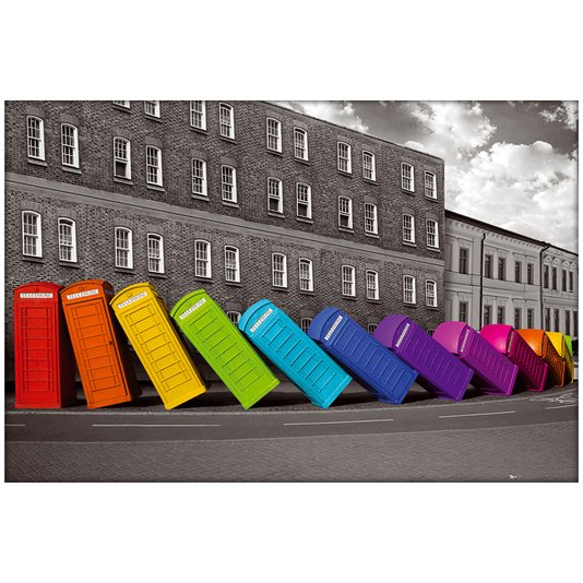Poster Cabines Tenefônicas Coloridas 90x60cm com/sem Moldura