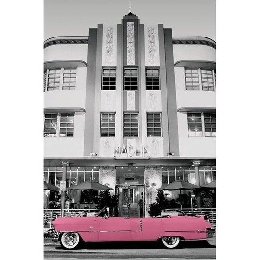 Poster Carro Antigo Cadillac Rosa 60x90cm com/sem Moldura