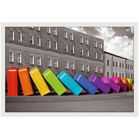 Poster com Moldura Branca Cabines Telefônicas Coloridas 94x64cm