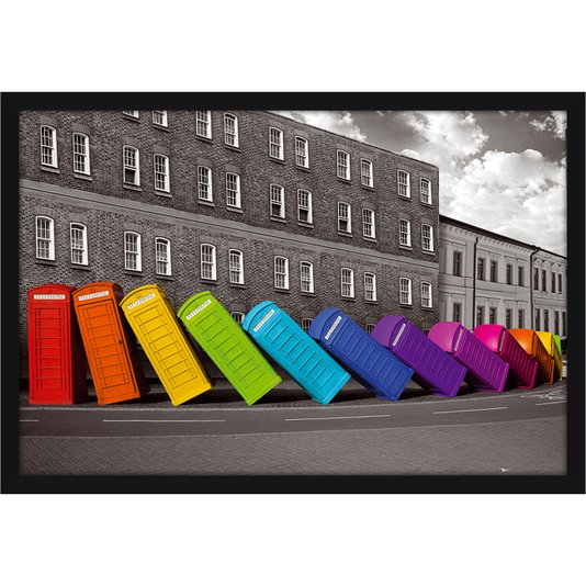 Poster com Moldura Cabines Telefônicas Coloridas s/ Vidro 94x64cm