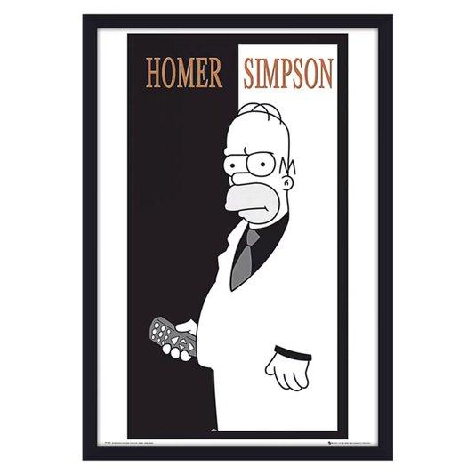 Poster com Moldura Homer Simpson em Preto e Branco s/ Vidro 60x90cm