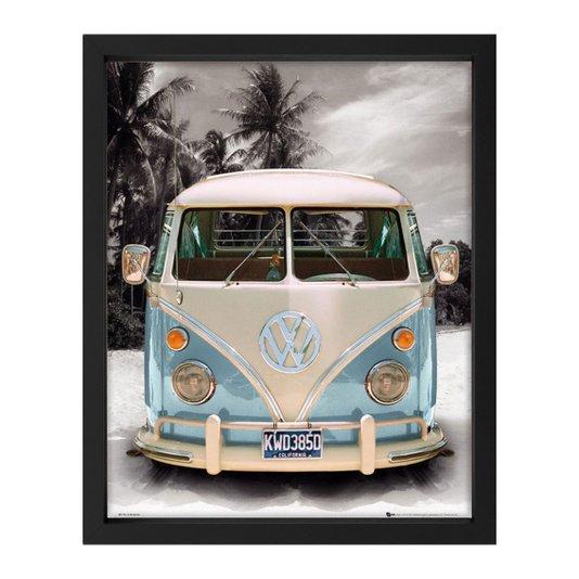 Poster com Moldura Kombi Azul Californian Camper sem Vidro 40x50cm