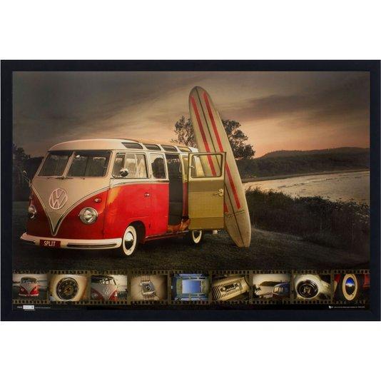 Poster com Moldura Kombi Vermelha e Prancha de Surf s/ Vidro 90x60cm