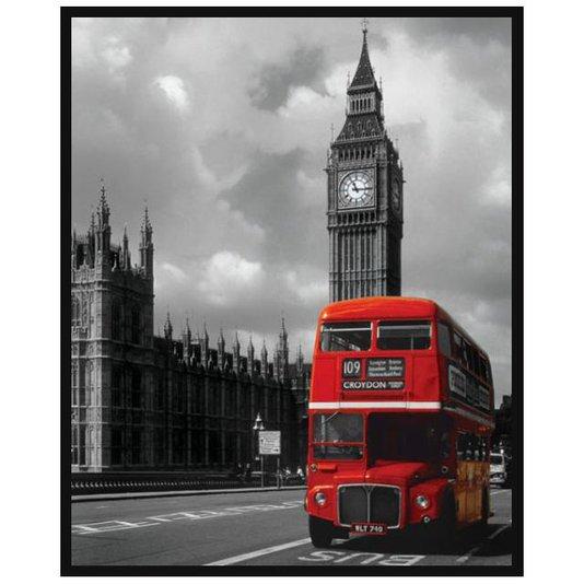 Poster com Moldura Londres Inglaterra Red Bus sem Vidro 40x50cm