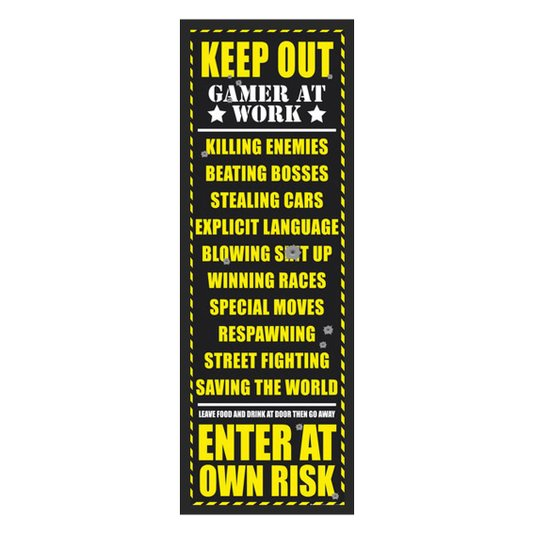 Poster com Moldura Quadro Decorativo Keep Out Gamer At Work 55x160cm