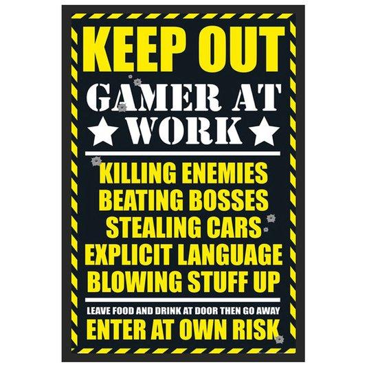 Poster com Moldura Quadro Decorativo Keep Out Gamer At Work 60x90cm
