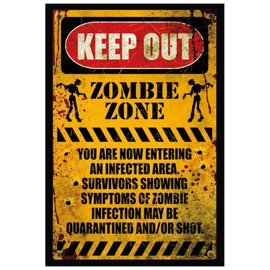 Poster com Moldura Quadro Decorativo Keep Out Zona Zumbi 60x90cm