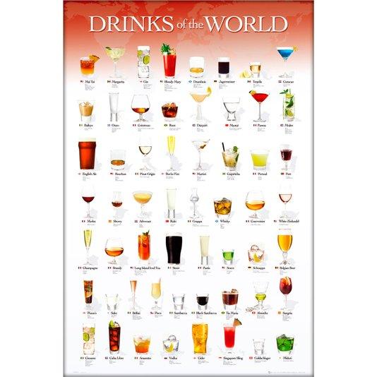 Poster Drinks pelo Mundo 60x90cm com/sem Moldura