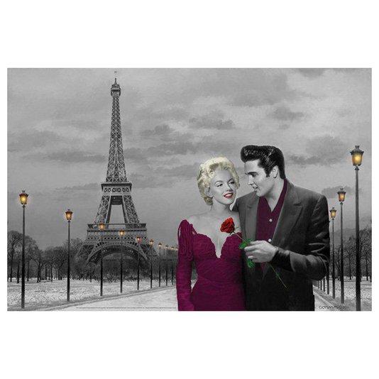 Poster Elvis Presley e Marilyn Monroe em Paris Torre Eiffel 90x60cm