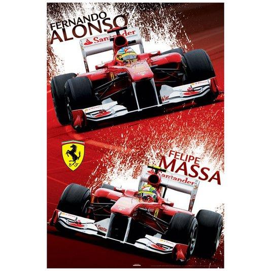 Poster Ferrari F1 Fernando Alonso e Felipe Massa 60x90cm com/sem Moldura