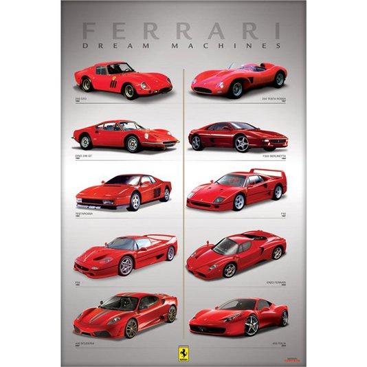 Poster Ferrari Maquina dos Sonhos 60x90cm com/sem Moldura