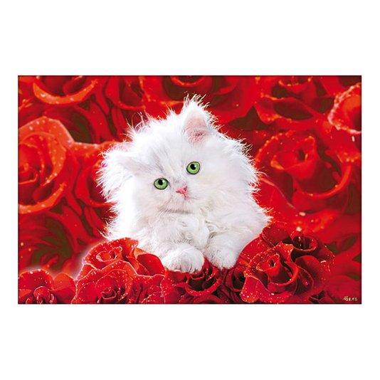 Poster Gato Branco Filhote Sobre Rosas Vermelhas 90x60cm com/sem Moldura