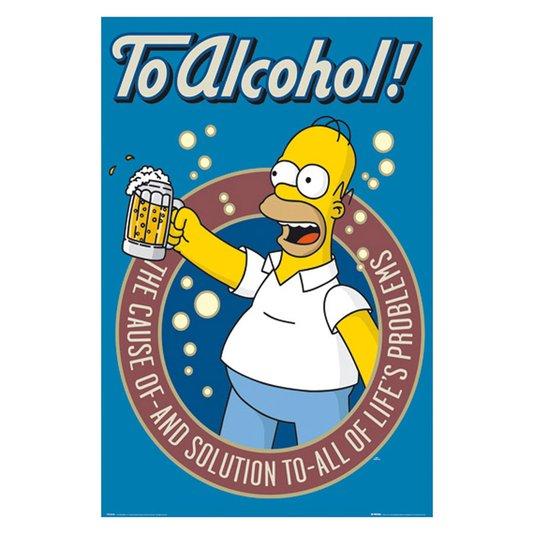 Poster Homer Simpson Brinde ao Álcool 60x90cm com/sem Moldura