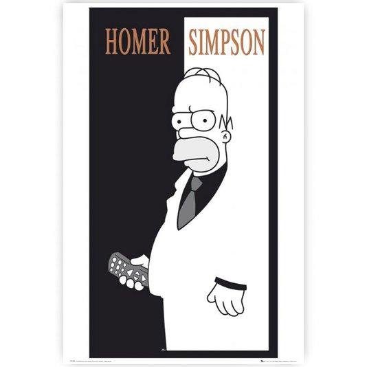 Poster Homer Simpson em Preto e Branco 60x90cm com/sem Moldura