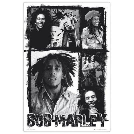 Poster Ídolo Bob Marley em Preto e Branco 60x90cm com/sem Moldura
