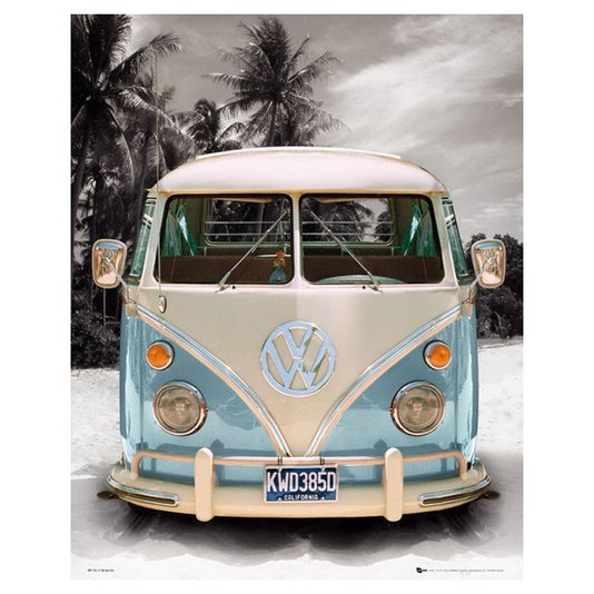 Poster Kombi Azul Californian Camper 40x50cm com/sem Moldura