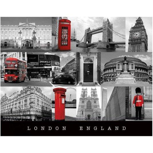 Poster London England Pontos Turísticos 50x40cm com/sem Moldura