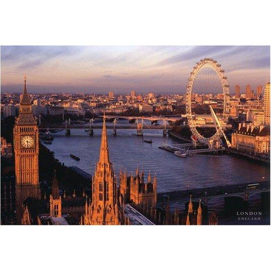 Poster Londres Big Ben e London Eye 90x60cm com/sem Moldura
