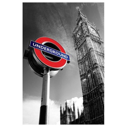 Poster Londres Big Ben Placa Estação Metrô 60x90cm com/sem Moldura