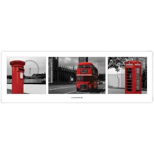 Poster Londres Hidrante Ônibus e Cabine Telefônica 90x30cm com/sem Moldura