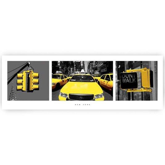 Poster New York Semáforos e Táxis Amarelos 90x30cm com/sem Moldura