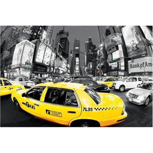 Poster Nova York na Hora do Rush Táxi Amarelo 90x60cm com/sem Moldura