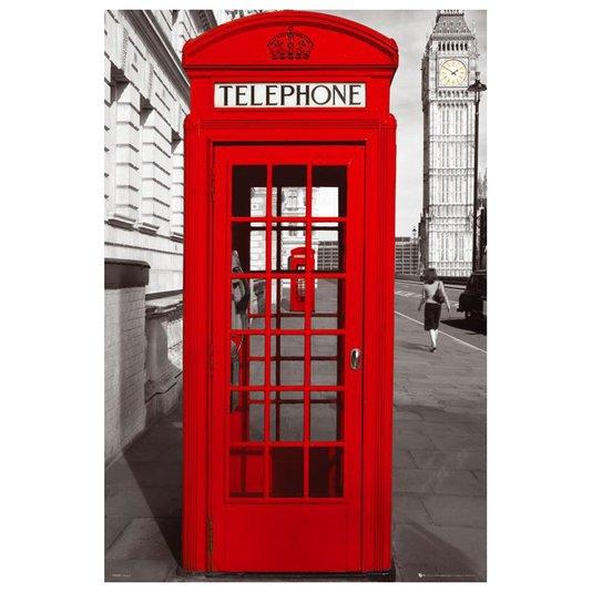 Poster para Quadros Cabine Telefônica Vermelha Londres 60x90cm