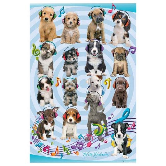 Poster para Quadros Cachorros Filhotes com Fone de Ouvido 60x90cm