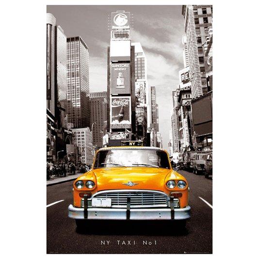 Poster para Quadros Gravura Táxi Numero 1 de Nova York 60x90cm