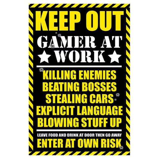 Poster para Quadros Keep Out Gamer At Work 60x90cm
