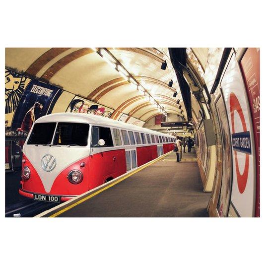 Poster para Quadros Kombi Metrô Vermelha e Branca 90x60cm