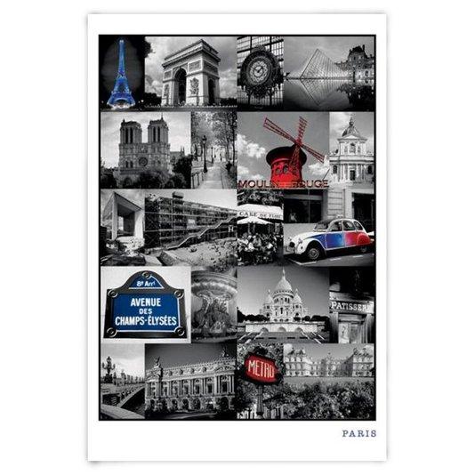 Poster Paris Alguns Pontos Turísticos 60x90cm com/sem Moldura