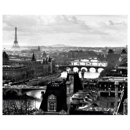 Poster Paris França Torre Eiffel em Preto e Branco 50x40cm com/sem Moldura