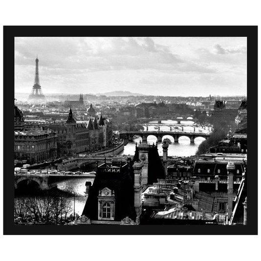Poster Paris França Torre Eiffel em Preto e Branco com Vidro 50x40cm