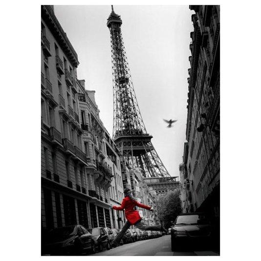 Poster Paris Torre Eiffel Mulher de Vermelho 100x140cm com/sem Moldura