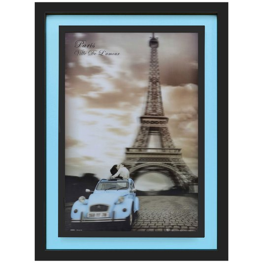 Quadro 3D Paris Cidade do Amor Torre Eiffel Carro Azul 65x85cm