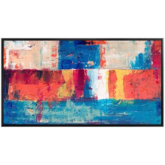 Quadro Abstrato Colorido em Tela Canvas com Moldura 160x90cm