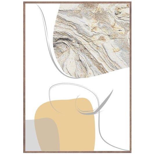 Quadro Abstrato com Moldura Discreta Madeira Natural 60x80 cm