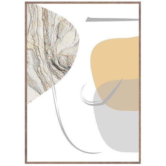 Quadro Abstrato com Moldura Madeira Natural Tingida 60x80 cm